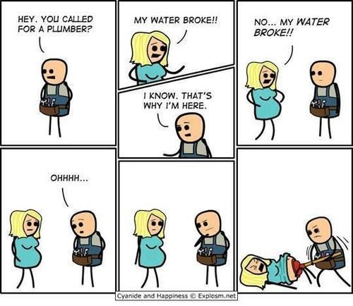 pregnancy,plumber,comic,cyanide & happiness