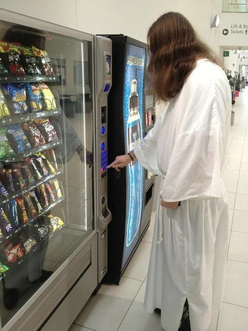 jesus saves,snacks,vending machine