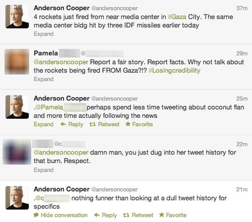 cnn,israel palestine conflict,gaza,Israel,Anderson Cooper,twitter,tweet,twitter history