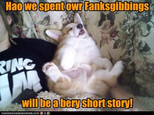 Hao we spent owr Fanksgibbings will be a bery short story!