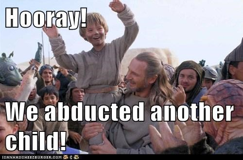child,liam neeson,qui-gon jinn,cheering,abducted,Jake Lloyd,hooray,anakin skywalker