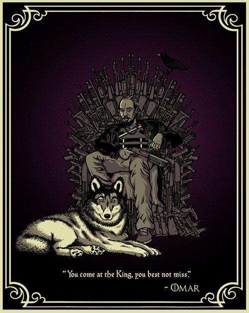 guns The Wire Game of Thrones Omar Little iron throne dogs - 6792508928
