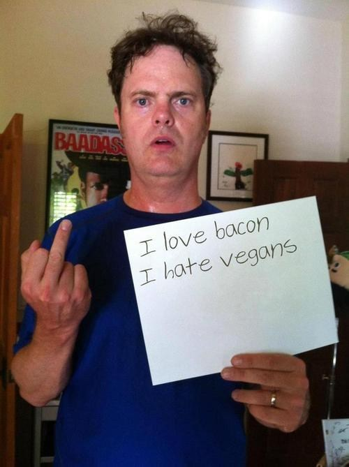the bird,rainn wilson,vegan,bacon