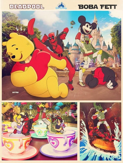 art,deadpool,disneyland,boba fett