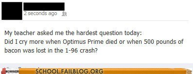 choosing optimus prime tough questions bacon - 6792807168