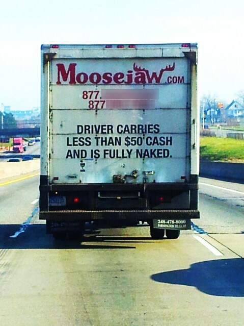 driver is fully naked,moosejaw