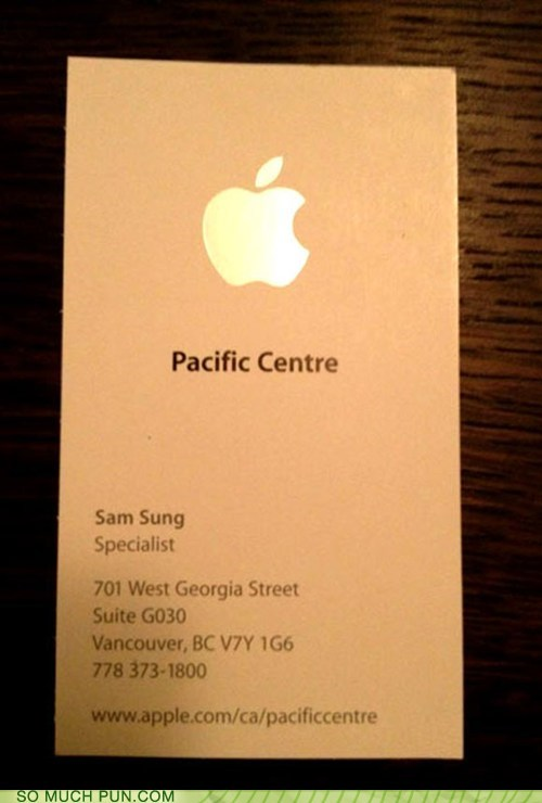 competition,business card,Samsung,irony,apple