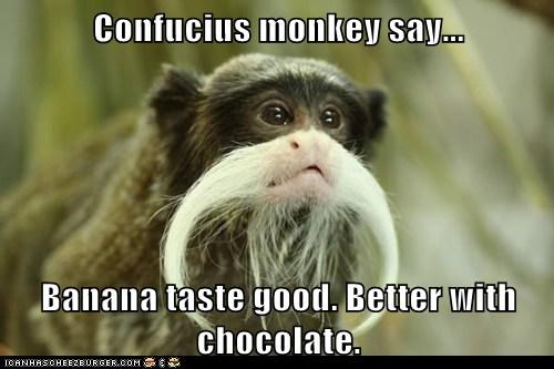 Confucius Monkey Say Banana Taste Good Better With Chocolate