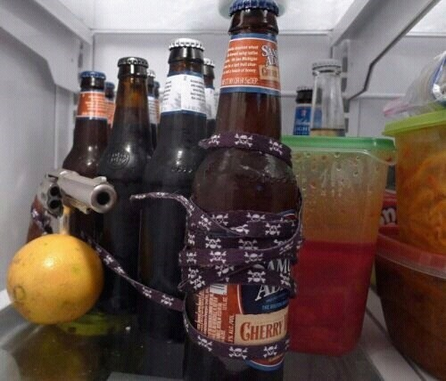 beer,how much do you want it,gun,fridge