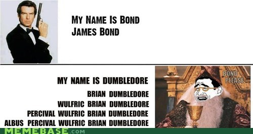 dumbledore,james bond,names
