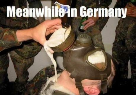 beer,drinking,alcohol,gas mask,Germany