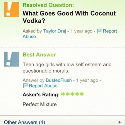 low self-esteem,best combination,Yahoo! answers,coconut vodka