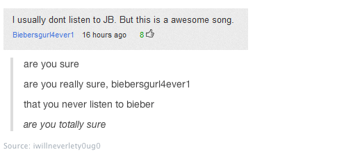 yahoo comments,powned,justin bieber