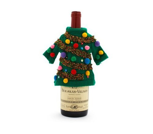 bottle,christmas,wine,sweater,ugly sweater,tree,tacky