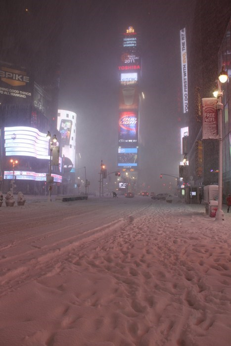 snow Times Square cityscape winter - 6796492544