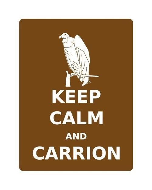 vulture poster keep calm and carry on carrion literalism homophones carry on - 6796539136