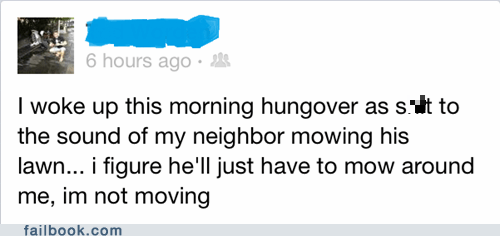 mowing the lawn,lawn mowing,hangover,neighbor