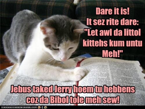 "Dare it is! It sez rite dare: ""Let awl da littol kittehs kum untu Meh!"" Jebus taked Jerry hoem tu hebbens coz da Bibol tole meh sew!"