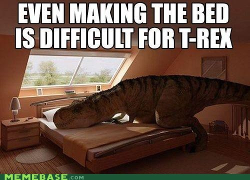 making the bed,chores,t rex