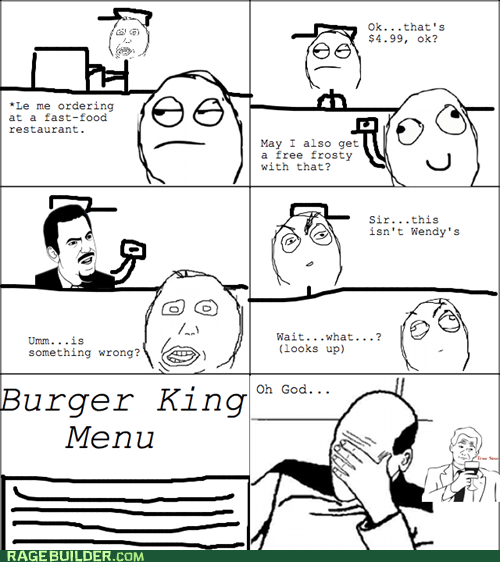 facepalm wendys burger king fast food frosty - 6804640000