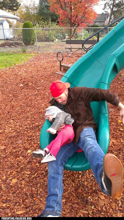 slide,playground,fatherdaughter