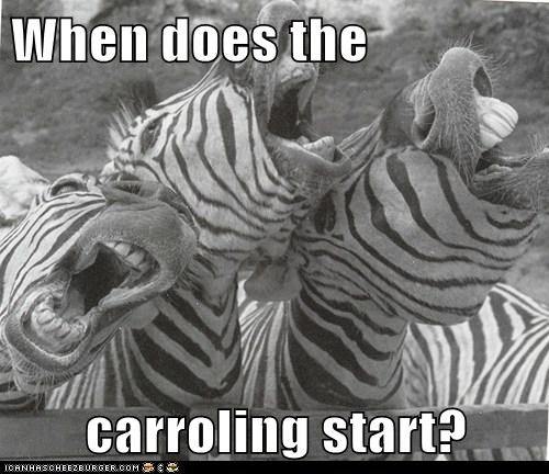 When does the   carroling start?
