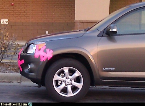 redecorating,pink duct tape,headlight,duct tape