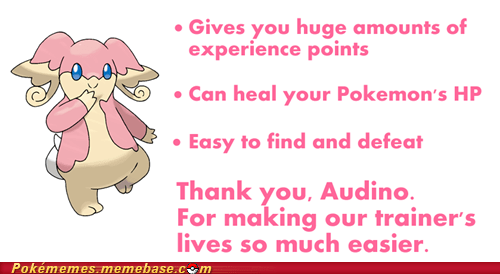 thanks trainers good guy audino