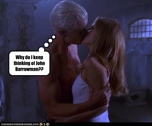 spike,buffy summers,thinking,kissing,james marsters,Buffy the Vampire Slayer,Sarah Michelle Gellar,john barrowman
