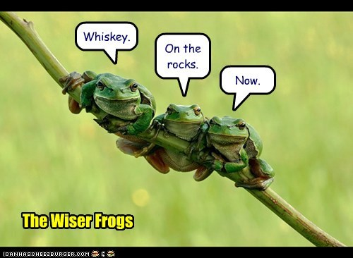 Whiskey. On the rocks. Now. The Wiser Frogs