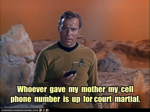 number cell phone Star Trek William Shatner Shatnerday court martial - 6807960576