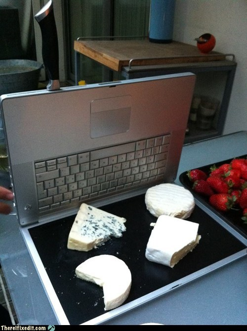 cheese,brie,apple,laptop,cheese tray