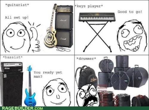 Music,drummers,instruments,bands,set up,rage guy,fuuuu