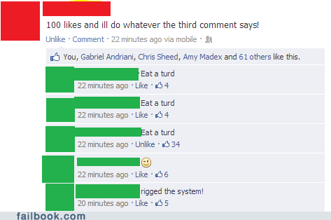 100 likes,rigged the system,eat a turd,like this status