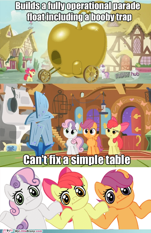 float,table,cutie mark crusaders,booby trap,seems legit