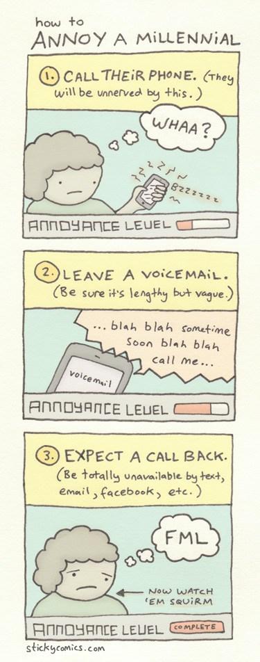 Sticky Comics millennials voicemail calling