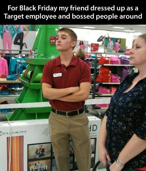 red handed redshirted black friday target employee - 6812586752