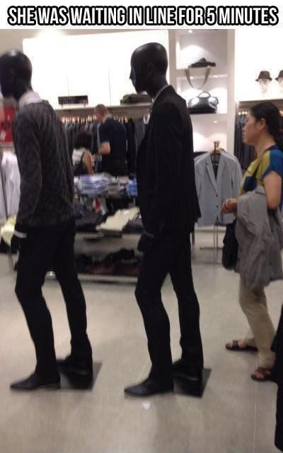 standing in line Mannequins shopping - 6812672512