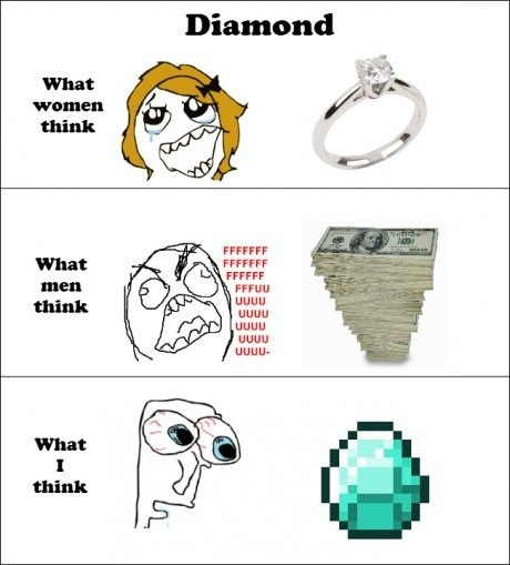 rage guy,diamonds,minecraft,sword,video games,FUUUUU,men vs women