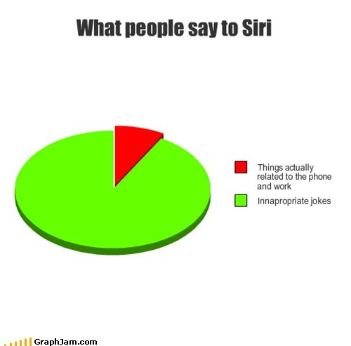 siri work inappropriate Pie Chart iphone