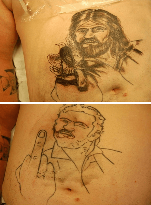 jesus middle finger Stomach tattoos - 6813513472