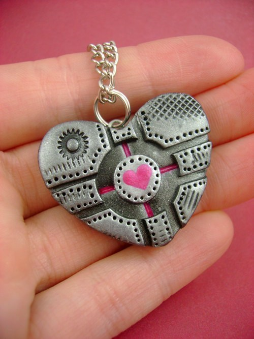necklace,heart,companion cube,pendant,Jewelry,Portal