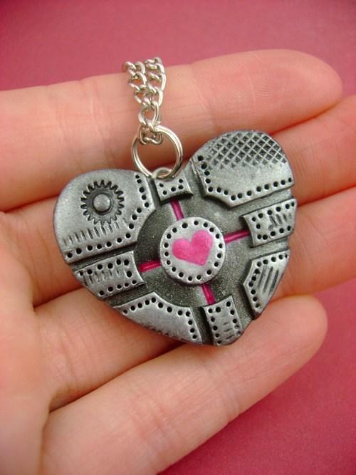 necklace heart companion cube pendant Jewelry Portal - 6813726464