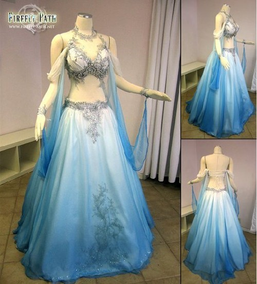 belly dancer blue gown dress revealing - 6813737984