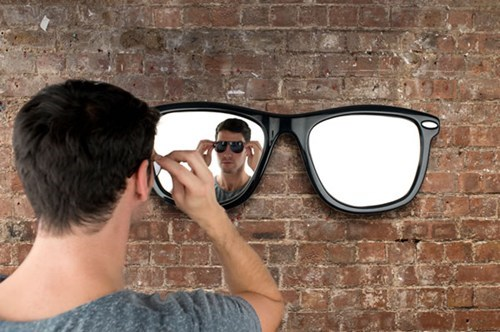 sunglasses,mirror,frame,wall