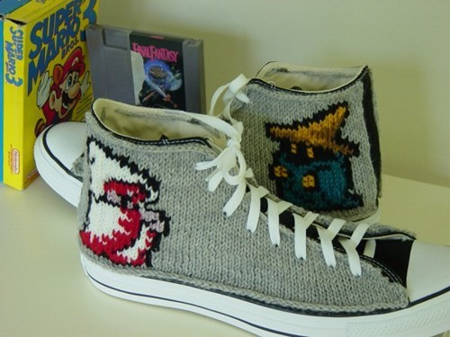 shoes nerdy converse covered DIY Knitted