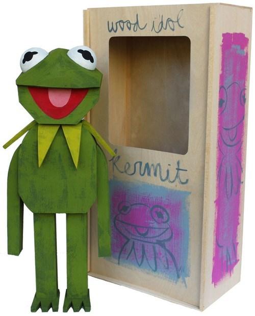 kermit the frog muppets art sculpture Painted wood handmade Sesame Street - 6813836032