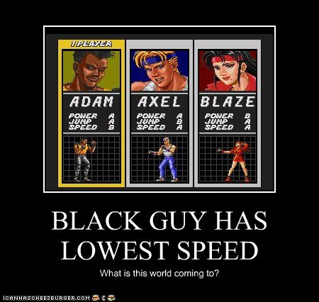 BLACK GUY HAS LOWEST SPEED What is this world coming to?