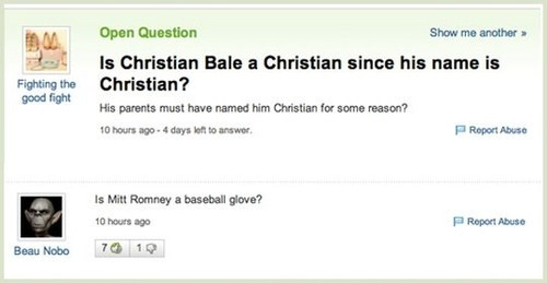 glove Mitt Romney yahoo answers christian bale