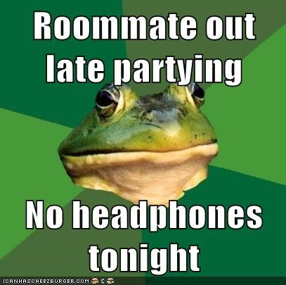 foul bachelor frog,headphones,roommates